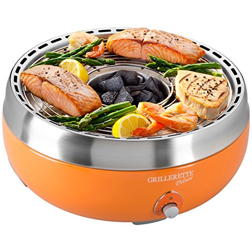 Food & Fun Deluxe Barbacoa de carbón Vegetal sin Humos, con Bolsa de guardado y Transporte, Naranja, 39.5 x 39.5 x 24.5 cm