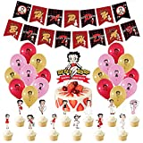 Betty Boop Birthday Party Supplies,Betty Boop Banner Cake Toppers Balloons Party Decorations for Girls