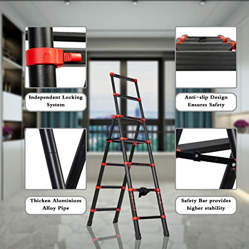 5+7 Telescoping Ladder A-Frame Aluminum Extension Ladder Lightweight Portable Multi-Purpose Folding Ladder,Adjustable and Folding Ladder with Hand Rails and Safety-Lock,330 Pound Capacity