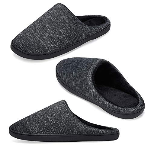 LK LEKUNI Zapatillas de Casa Mujer y Hombre de Estar Zapatos Antideslizantes Ultraligero Cómodo y Calentitas Antideslizante Pantuflas, Negro, 42/43