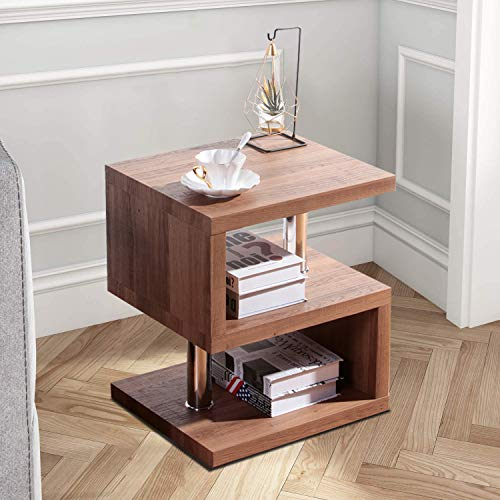 GOLDFAN Wood S-Shape Side End Table with 3 Tier Storage Shelves Modern Small Coffee Sofa Table Bedside, Brown
