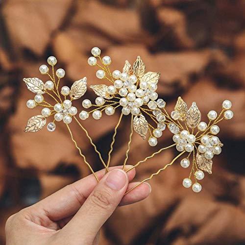 Mayelia Perlen Braut Hochzeit Haarnadeln Gold Haarspangen Blatt Kopfschmuck Braut Haarschmuck für Frauen und Mädchen (2 Stück)