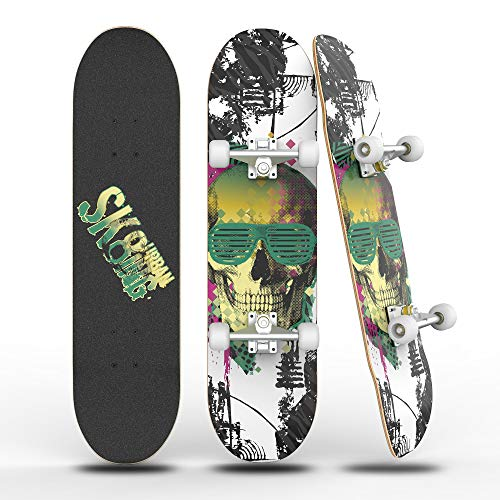 "PHNHOLUN Skateboards 31"" Complete Skateboard: Double Kick Skate Board 8"