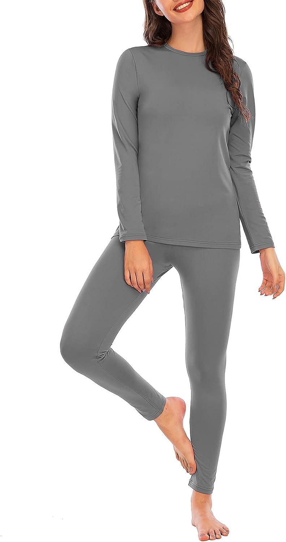 Zando Womens Thermal Underwear Two Piece Cuddle Duds Winter Base Layer Long Johns Set Ultra Soft Top Bottom Lounge Set