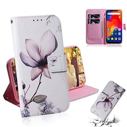Fundas Xiaomi Estuche de Cuero con diseño Horizontal y Dibujo a Color de Magnolia for Xiaomi Redmi Note 6 / Redmi Note 6 Pro, con Soporte y Ranuras for Tarjetas y Cartera Fundas Xiaomi