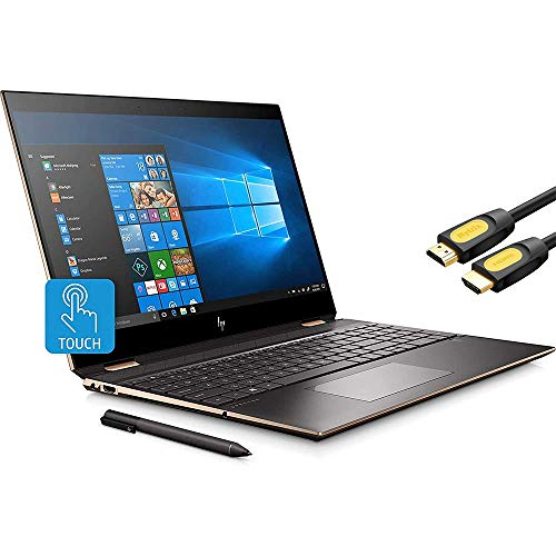 HP Spectre x360 2-in-1 Touchscreen Laptop, 4K UHD 15.6', Core i7-10510U, GeForce MX330 2GB Graphics, 16GB RAM, Backlit, Thunderbolt 3, 2TB NVMe PCIe SSD, Mytrix HDMI Cable, Win 10 (Renewed)