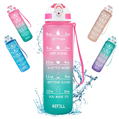 ShikeCore 32oz Water Bottles with Time Marker & Straw,...