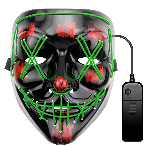 ALITOVE Máscara de Halloween verde LED Light Wire Cosplay Máscara Purge Mask para Halloween, festivales, cosplay, Halloween