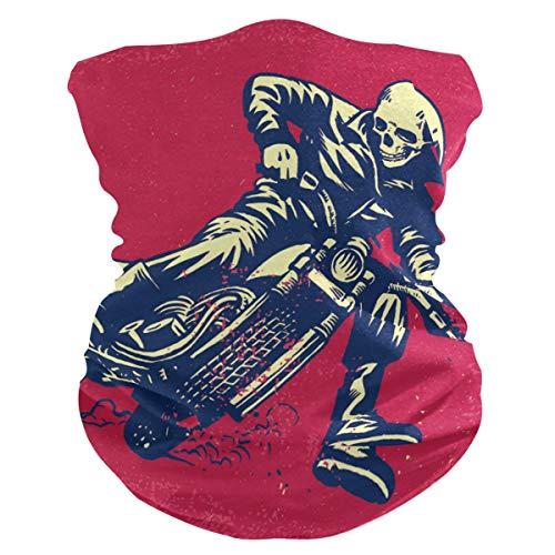 LZXO Bandana Stirnband Vintage Totenkopf Bikecycle Muster Nahtlos Gesicht Schal Outdoor Kopfbedeckung Sturmhaube Halstuch Wärmer für Staub Wind Sonnenschutz