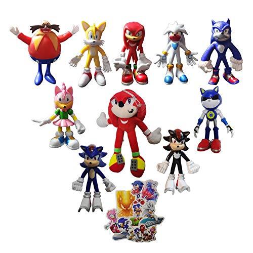 XIANGQIAN Sonic Anzug 10 Stück/Set Neue Sonic Plüsch Stofftier Sonic Shadow Tails Anime Charakter Home Dekoration Ragdoll für Kind