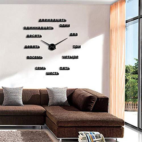 Wanduhr Russische Figuren DIY Große Wanduhr Russische Rahmenlose Riesige Wanduhr Kunst Home Decor 3D Großen Spiegel Aufkleber Moderne Design Uhr 37Inc