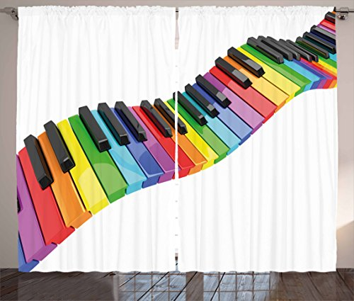 Ambesonne Music Curtains, Vibrant Colored Piano Keyboard Wave Musician Arts Entertainment Harmony Instrument, Living Room Bedroom Window Drapes 2 Panel Set, 108' X 63', Rainbow Black