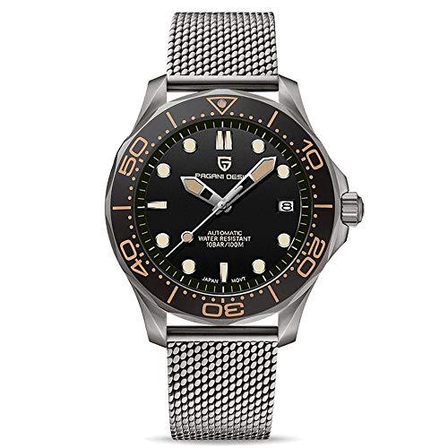 Pagani Design 007 Seamaster Automatische Taucheruhren für Herren Milanese Armband aus Edelstahl, Keramiklünette, gebogener Saphirspiegel, wasserdichte Armbanduhr