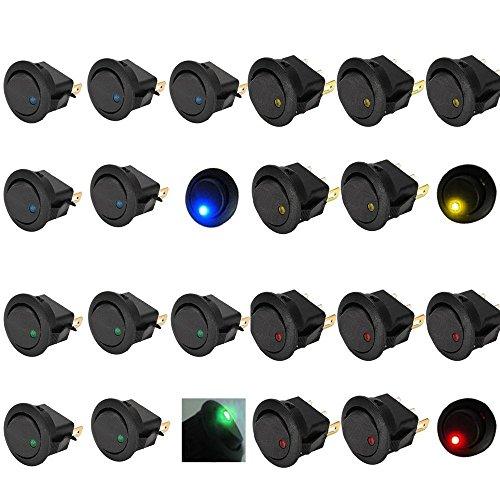 Mintice 20 X auto 12V 16A pulsanti interrutore a bilanciere rotonda luce blu rosso verde giallo LED acceso spento interruttore a levetta