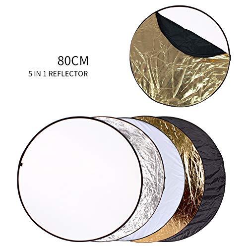 DAMUXIN 80cm 5 In 1 Tragbares, zusammenklappbares, rundes Lichtreflektor-Blitzzubehör für Photo Studio Multi Photo Disc
