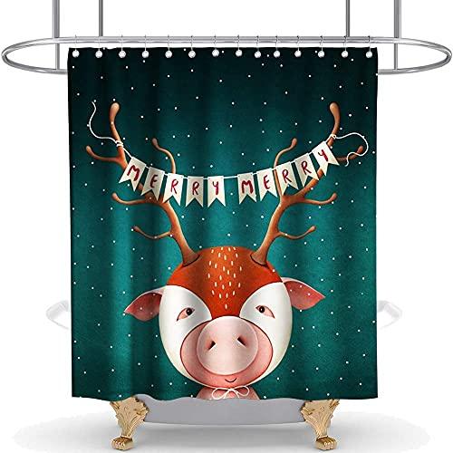 Cortina Ducha Cortina Protectora contra Tocado de Jefe de la Tribu Fawn 150*180cm para decoración de baño con 12 Ganchos 3D Impresión Digital Poliéster Impermeable Antibacteriano Rresistente al