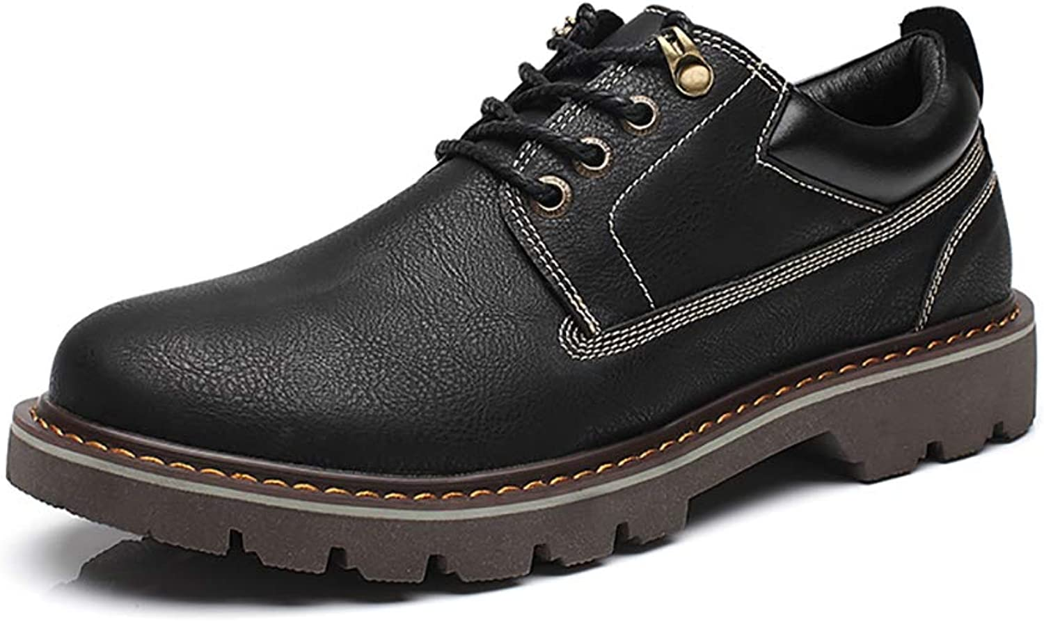 SMILINGGIRL England Boots - Low Help Martin shoes - Tooling shoes - Casual Men's Leather shoes Black (Thick, Thin),Blackb,8