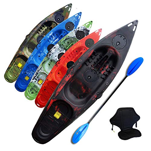 Riber One Person Sit on Top Kayak Starter Pack- Ideal for Beginners - Multiple Colours (Black & Red)