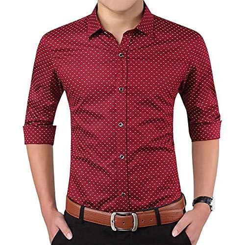 Peppyzone Men's Printed Cotton Full Sleeve Formal Shirt