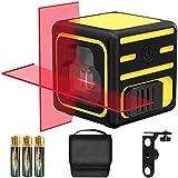 Nivel Láser, papasbox 15M Nivelador Láser Modo Manual/Autonivelante, Líneas Cruzadas, IP54, Soporte Giratorio Magnético 360° Rotación, Bolsa Portátil, para Diseño de Interiores(3*Pilas)