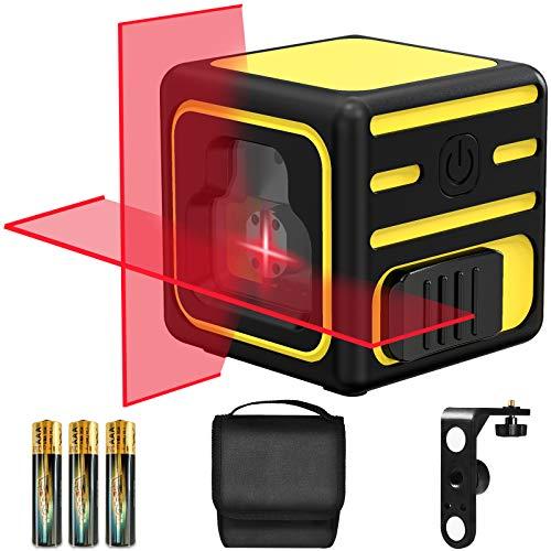 Kreuzlinienlaser, papasbox Linienlaser Selbstnivellierend Laser mit Neigungsfunktion, Magnethalter (Arbeitsbereich: 20 m, selbstnivellierend ± 3°, 3x AAA-Batterien, in Schutztasche)