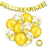 Set de 12 Decoraciones de Bienvenida a Casa Bandera de Welcome Home y Globos Incluye Globo Tropical de Bienvenida a Casa y Bandera Brillante Oro de Welcome Home para Suminsitros Fiesta