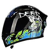 Full Face Vibrazione del Casco del Motociclo di Bluetooth Motocross Caschi Moto Crash Casco modulare DOT/ECE Approved Casco Integrale L = 57~60CM (Color : E, Size : XXL=64~65cm)