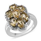 Stainless Steel Oval Citrine Flower Cluster Ring for Women Jewelry Size 8 Cttw 2.2