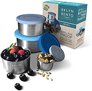 Stainless Steel Food Container With Leak Proof Silicone Lid | Metal Lunch Box | Bento Box | Nesting Food Storage | Great For Portion Control Snacks Condiments Dressings | Baby Kids Adults [4 PCS Set]