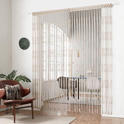 HSYLYM Jacquard-Vorhang,Polyester,ideal für Fensterbehandlung & Dekoration,naturfarben,100x200cm(39x78inch)