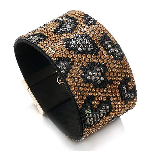 HMANE Pulseras Anchas de Cuero con patrón de Piel de Serpiente con Diamantes de imitación completos para Mujer, Pulsera con Estampado de Animales a la Moda, joyería Femenina