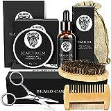 Beard Grooming Kit for Men - Beard Kit with Beard Growth Oil, Beard Wax, Beard Brush, Beard Comb, Storage Bag, and Beard E-Book, Birthday Gifts Men Stocking Stuffers for Men Dad Husband Boyfriend Fiance