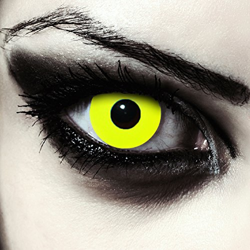 Designlenses Giallo Totalmente Lenti a Contatto Colorate Gialle per Halloween, morbide, Non corrette Modello: Yellow Big Eye
