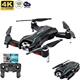 PUKEFNU Drones pour Adultes avec caméra HD 4K, WiFi FPV Pliable GPS Live Vidéo Double caméras intelligentes Suivre l'image HD Transmission Altitude Point d'attente Fixe Surround Follow Me,2 Battery