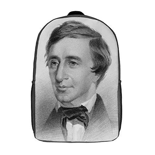QUEMIN Henry David Thoreau Bolsos de hombro Mochila escolar ligera Mochila de viaje para computadora portátil de 15 pulgadas Dzc Bag 17 pulgadas