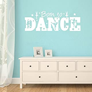 Wall Sticker Home Art Quotes Personalized Motivational Quotes Wall Decals Born to Dance Ballerina Stars Vinyl Mural Stickers for Girls Room
