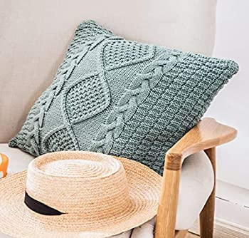 ANDUUNI Decorative Cotton Knitted Pillow Case Cushion Cover Double-Cable Knitting Patterns Soft Warm Throw Pillow Covers  Lake Blue Cover Only