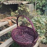 ASHDZ フルーツバスケットハンドバスケット野菜バスケットラタンバスケットギフトバスケット卸売包装卵のバスケット竹のバスケットピクニックバスケット小さなバスケット (Color : Purple, Size : L)
