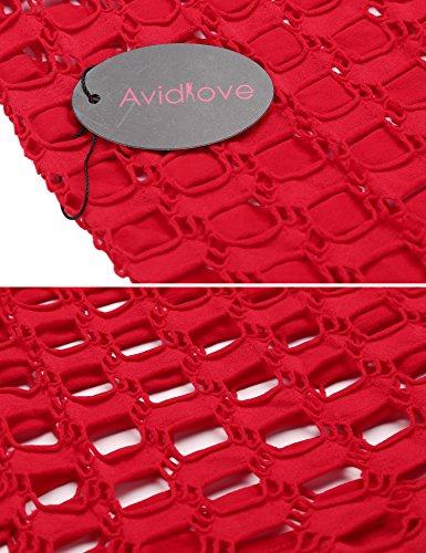 Avidlove Avidlove Lingerie Dessous Frauen Mesh Sexy Hollow Out Negligee Babydoll Wäsche Netzs Flexibel Free Size Mini Silm Kleid, B.rot, Einheitsgröße