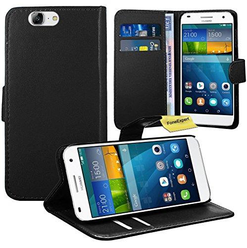 Huawei Ascend G7 Handy Tasche, FoneExpert® Wallet Case Flip Cover Hüllen Etui Ledertasche Lederhülle Premium Schutzhülle für Huawei Ascend G7 (Schwarz)