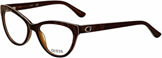Guess Women's Eyeglasses GU2554 GU/2554 050 Brown Cat Eye Optical Frame 52mm