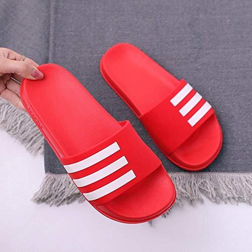 HUSHUI Antideslizantes Chanclas y Sandalias,Sandalias Antideslizantes Resistentes al Desgaste, Zapatillas de Pareja de Verano-Rojo 15_44-45,Bañarse Chanclas de Casa Suave Zapatos
