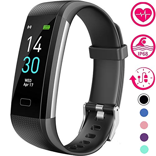 Vabogu Fitness Tracker HR, with Blood Pressure Heart Rate Monitor, Pedometer, Sleep Monitor, Calorie Counter, Vibrating Alarm, Clock IP68 Waterproof for Women Men (Black)