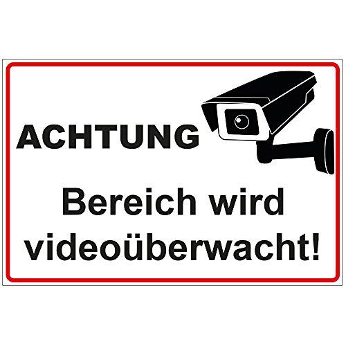 Schild Achtung - Bereich Wird videoüberwacht aus Alu/Dibond 300x200 mm - 3 mm stark