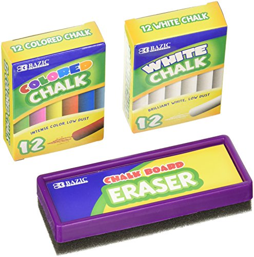 Chalk and Eraser Set  Comes with Colored and White Chalk by Basic