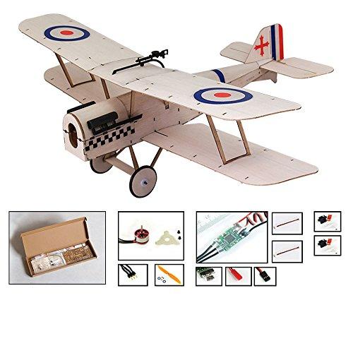 Kit de avión Micro RC, kits de avión de madera balsa cortada con láser de 14.8 `` para construir para adultos, avión controlado por radio eléctrico sin ensamblar (KIT+Motor+ESC+Servo, sin transmisor)