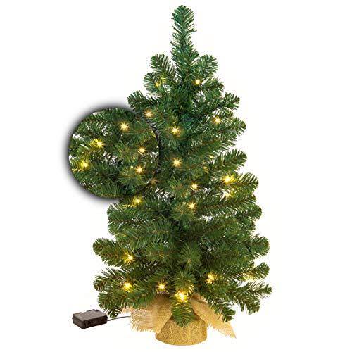 Excellent Trees® CT16103 Künstlicher kleine Weihnachtsbaum Led Jarbo 90 cm mit Beleuchtung - Luxusedition - 80 Lämpchen LED warm weiß | Batterie | Mit Timer Funktion | Tischdeko | Deko Tannenbaum