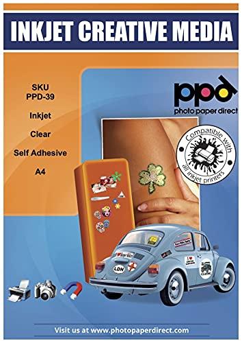 PPD 20 x A4 Inkjet Bedruckbare Transparente Etikettenfolie Selbstklebend - ideal als Fensterfolie, Glasfolie, Dekofolie u.v.m. und geeignet für alle Tintenstrahldrucker PPD-39-20