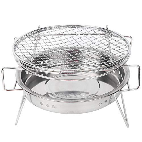 MAGT Holzkohlegrill, Edelstahl Round Mini Grill,Tragbarer Campinggrill, Barbecue Kohle Grill, Edelstahl Holzkohle Faltgrill Grillnetz für Outdoor-Camping Picknick Kochen(22 x 14CM)