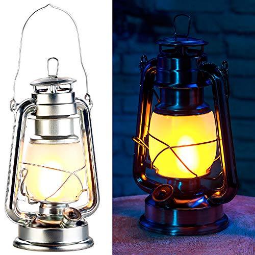 Lunartec Oellampen: LED-Sturmlaterne mit Flammen-Effekt, 25 cm Höhe, silberfarben (Camping-Laterne Batterie)